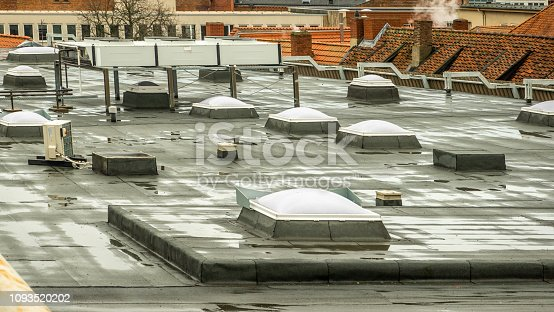 istock Skylights on the roof of a department store in the city centre 1093520202