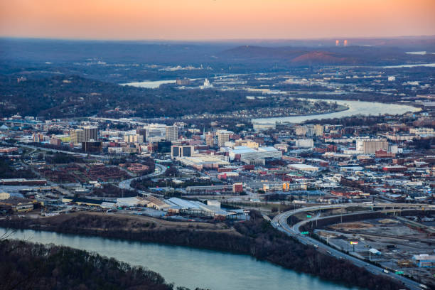 Skyline Aerial of Downtown Chattanooga, Tennessee, TN, USA Drone Aerial of Downtown Chattanooga Tennessee TN skyline from Point Park and Lookout Mountain. tennessee river stock pictures, royalty-free photos & images