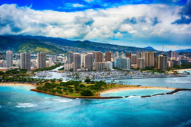 Skyline Aerial of Honolulu Hawaii stock photo