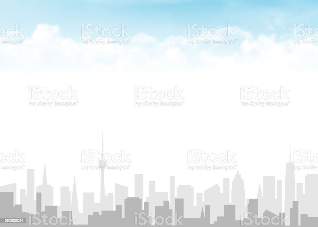 Skyline and blue sky with clouds stock photo