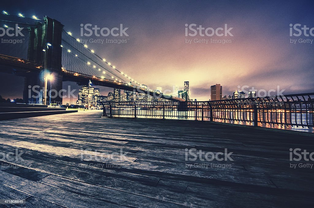 NYC skyline and brooklyn bridge stock photo