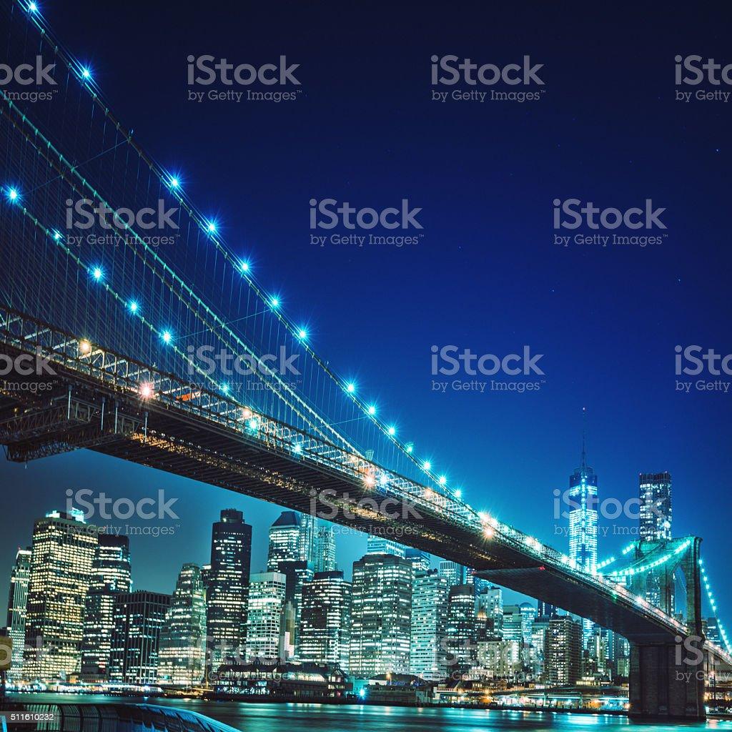 NYC skyline and brooklyn bridge stock photo