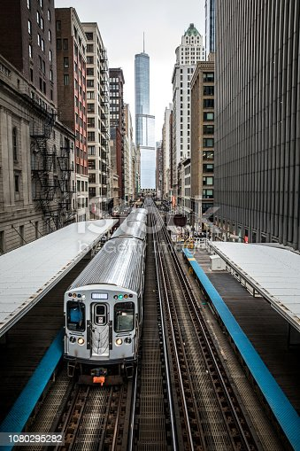 Skyline and city transportation in Chicago, USA