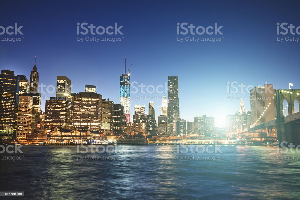 NYC skyline and freedom tower royalty-free stock photo