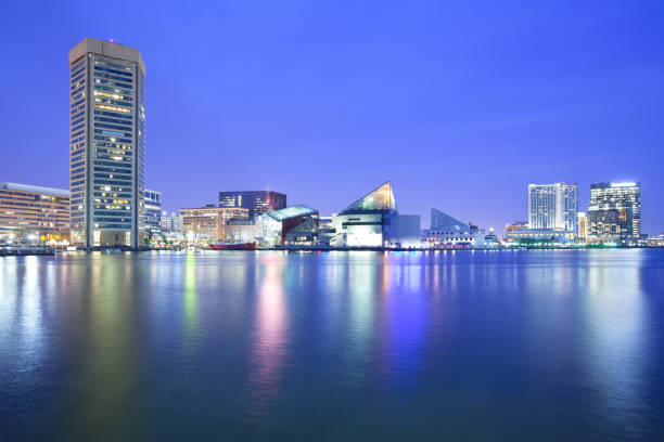 skyline and Inner Harbor Downtown city skyline and Inner Harbor, Baltimore, Maryland, USA inner harbor baltimore stock pictures, royalty-free photos & images