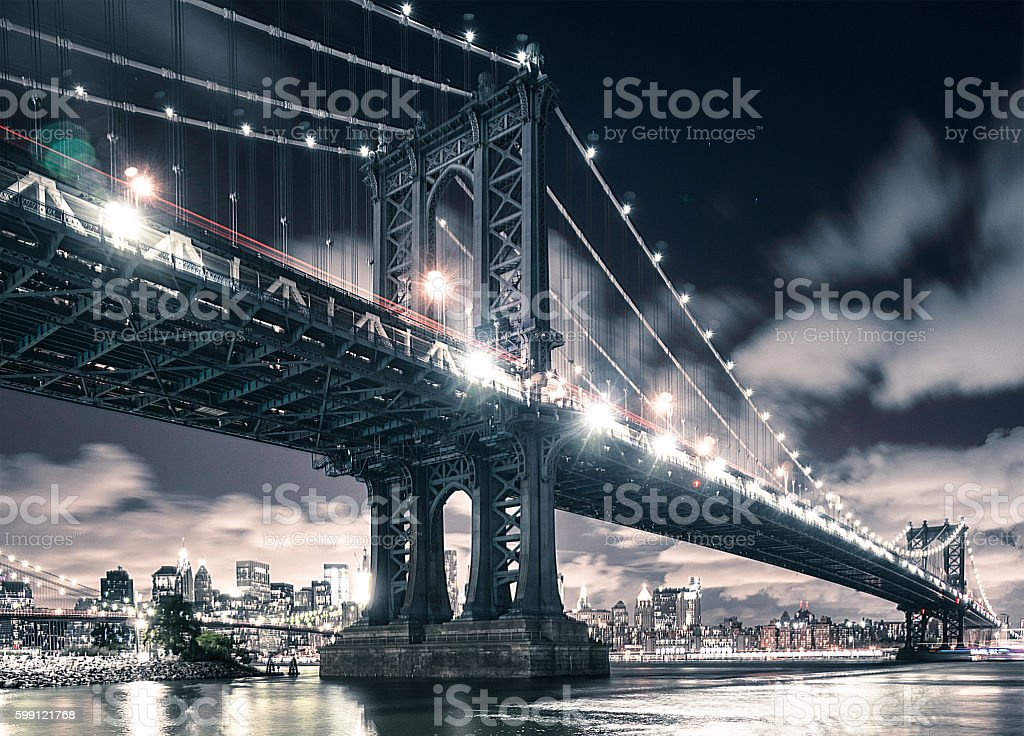 NYC skyline and manhattan bridge stock photo