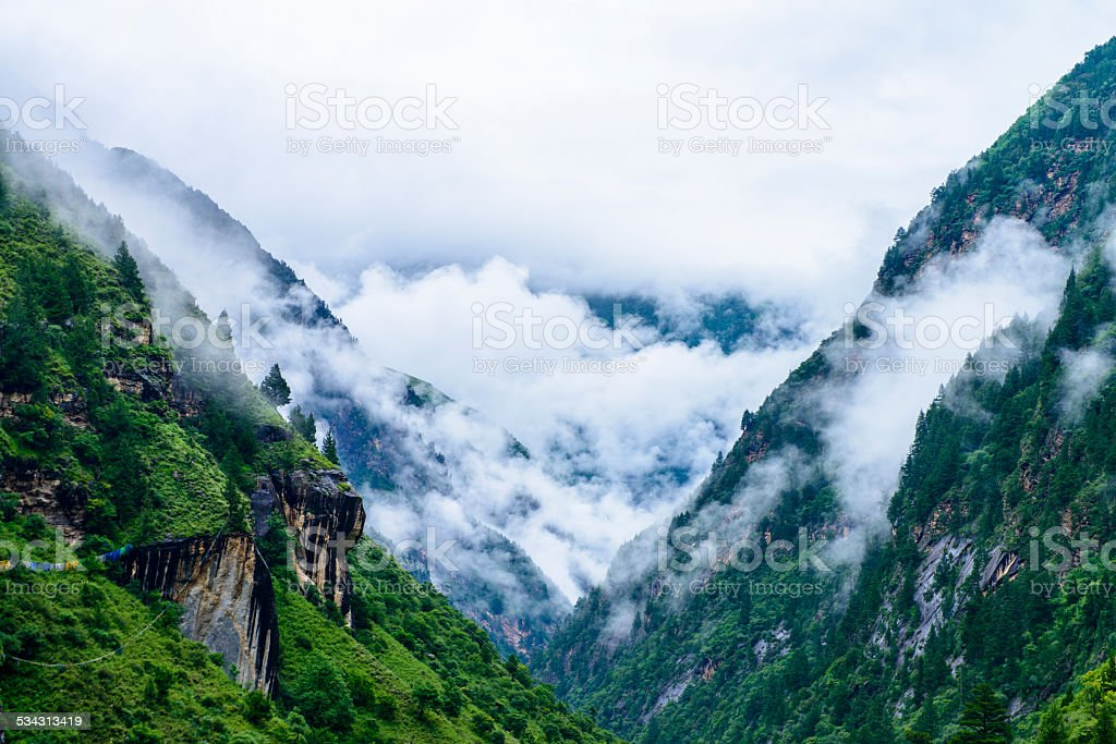 skyline and mountain in tibet plateau stock photo