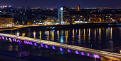 skyline and river at night -urban city background