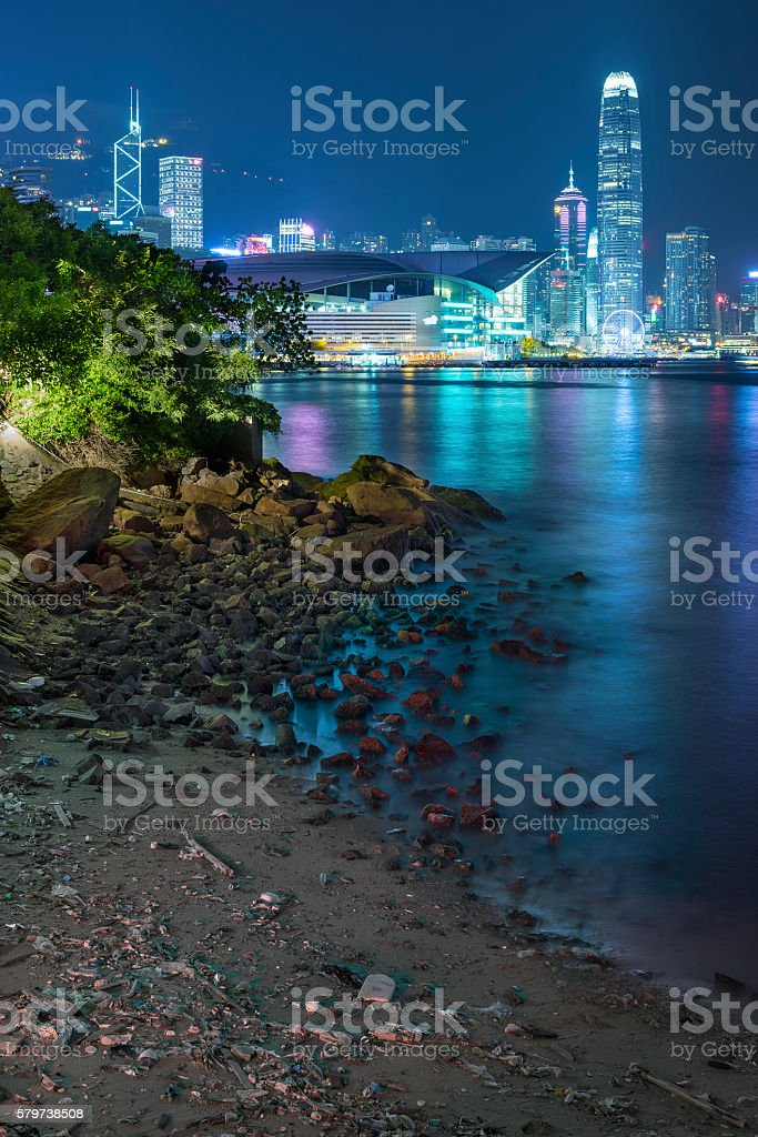 Skyline and seaside of Hong Kong city stock photo