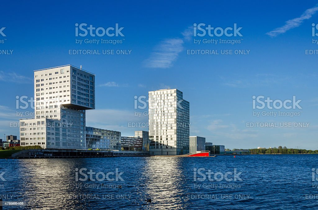 Skyline apartment buildings of Almere Stad, Netherlands stock photo