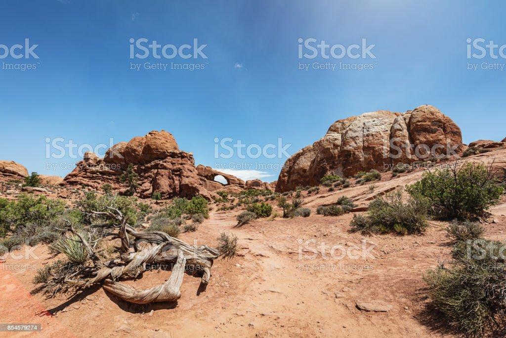 Skyline Arch Trail Arches National Park Utah stock photo