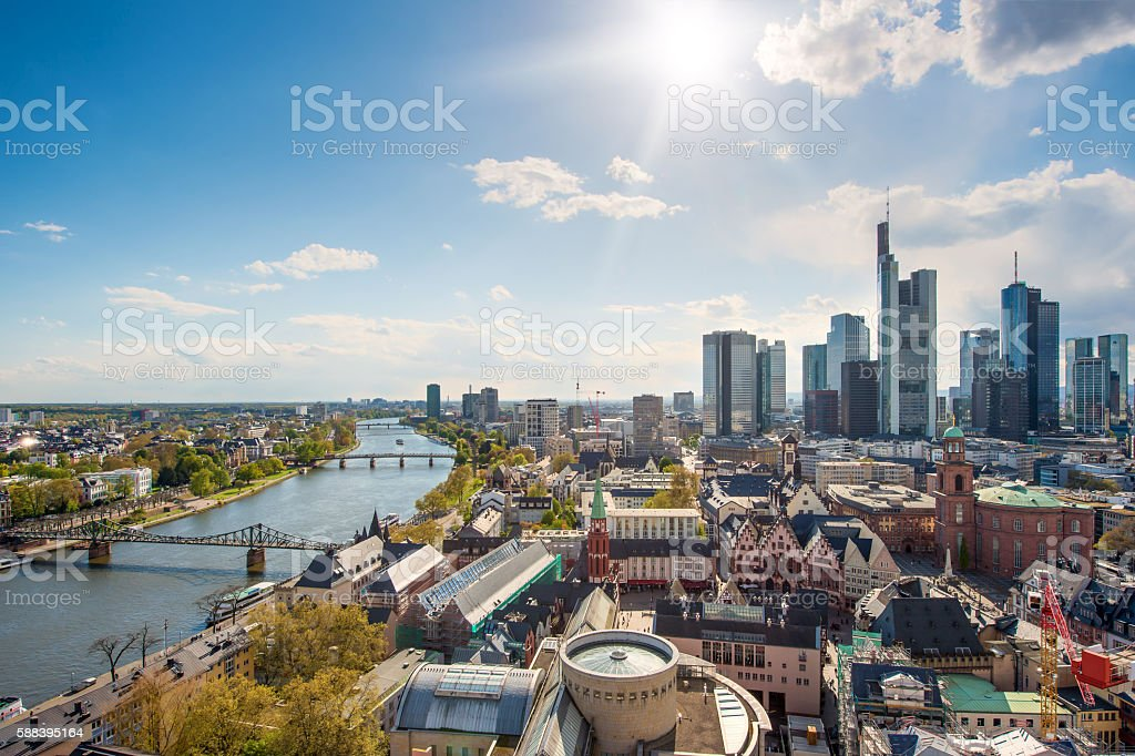 Skyline at center business district in Frankfurt, Germany. – Foto