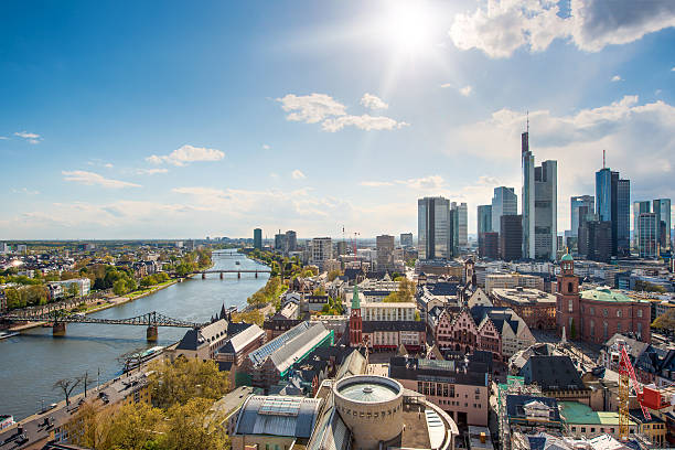 Skyline at center business district in Frankfurt, Germany. stock photo