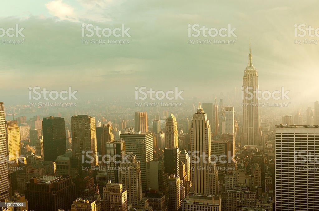 NYC Skyline at Dawn, NYC royalty-free stock photo