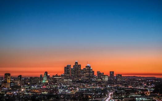 LA skyline at dusk