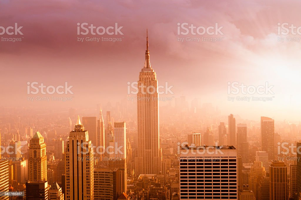 NYC Skyline at Sunset royalty-free stock photo