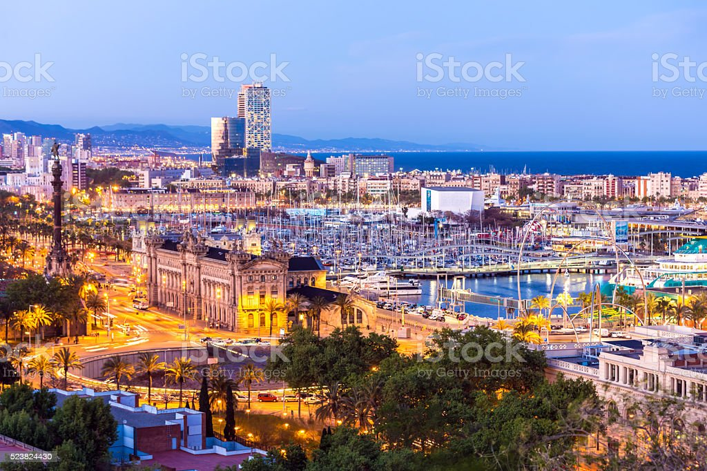 Skyline Barcelona at sunset stock photo