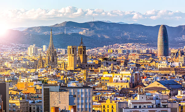 Skyline Barcelona at sunset Skyline Barcelona at sunset barcelona spain stock pictures, royalty-free photos & images