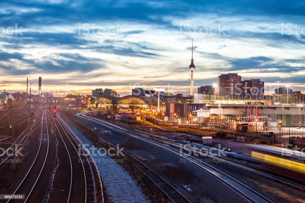 Skyline Berlin with Train Station stock photo