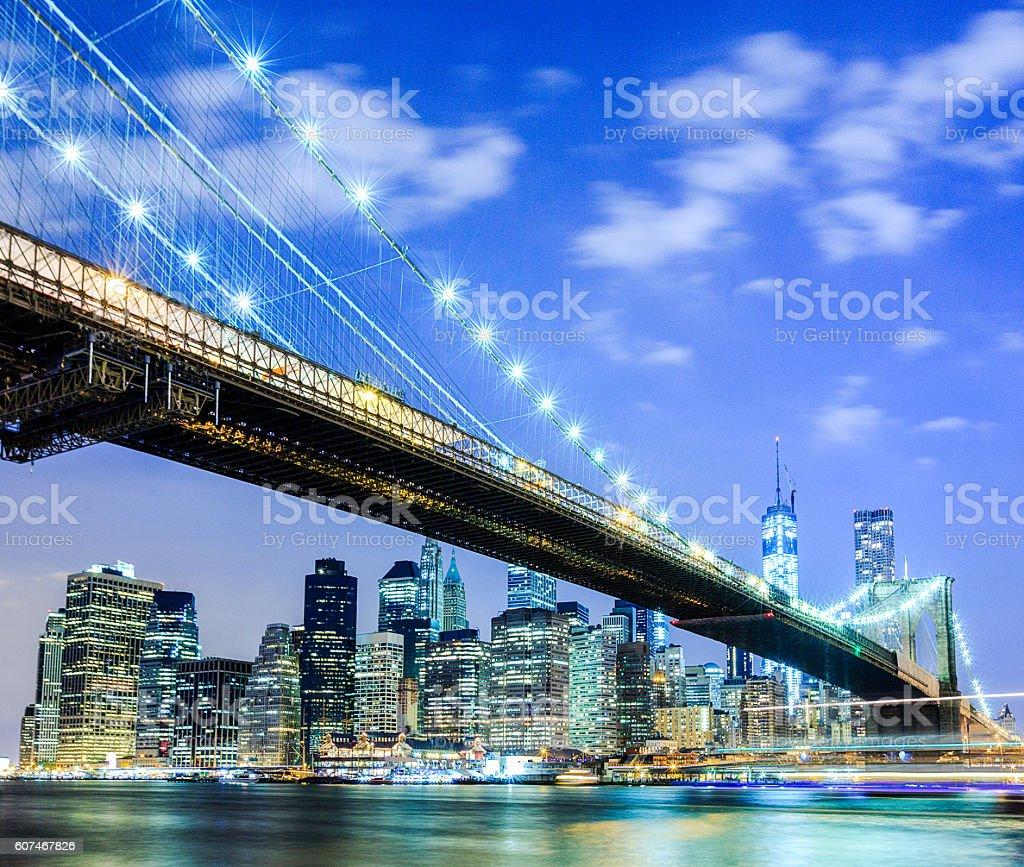 NYC skyline: Brooklyn Bridge and Manhattan stock photo