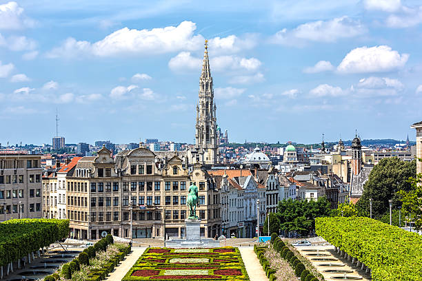 Skyline Brussels Skyline Brussels, Monts des Arts. belgium stock pictures, royalty-free photos & images