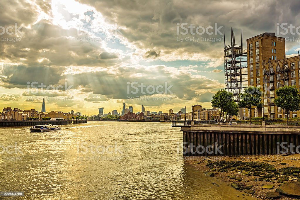Skyline Canary Wharf with London Skyline stock photo