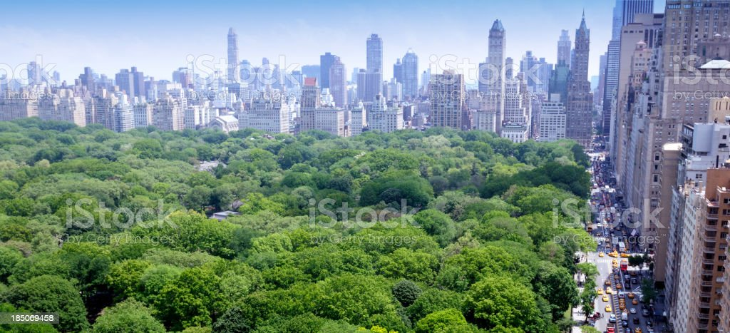 NYC Skyline Central Park Aerial View royalty-free stock photo