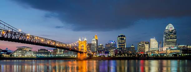 Skyline Cincinnati, Ohio Skyline of Cincinnati, taken just across the bridge in Covington, Kentucky cincinnati stock pictures, royalty-free photos & images