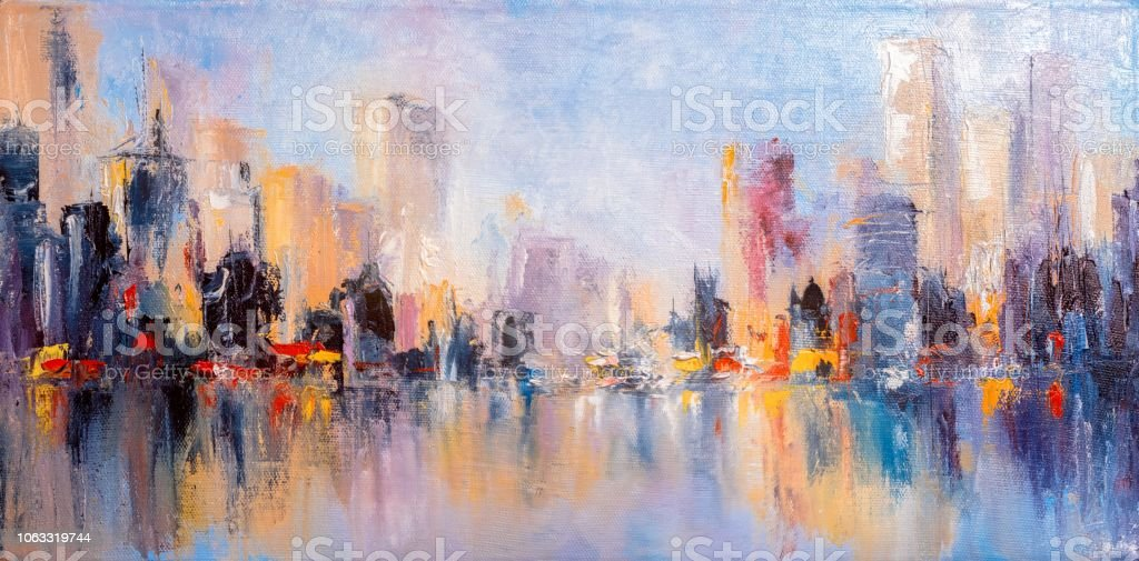 Skyline city view with reflections on water. Original oil painting on...