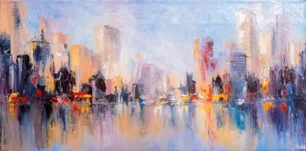 skyline city view with reflections on water. original oil painting on canvas, - malarstwo zdjęcia i obrazy z banku zdjęć