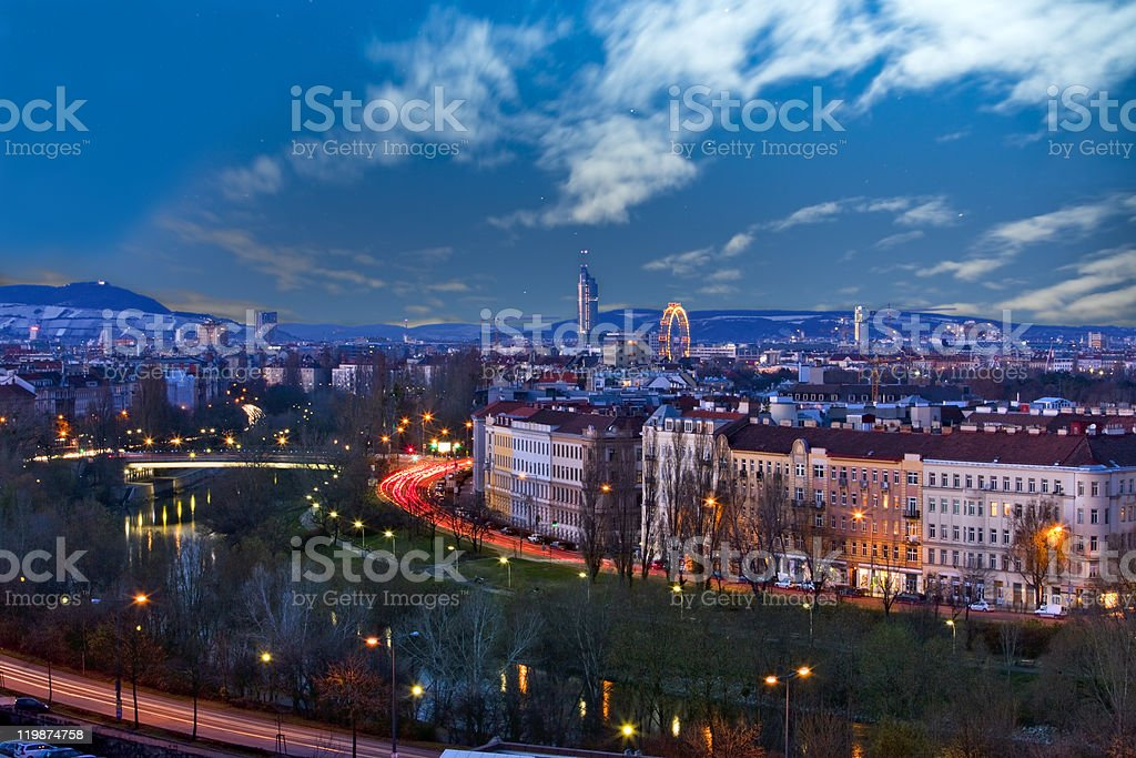 Skyline danube valley vienna at night stock photo