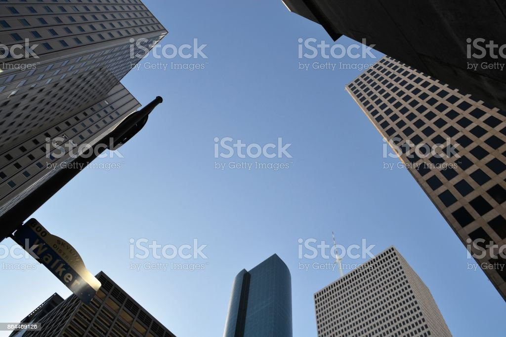 Skyline District Walker Street Buildings in Texas stock photo