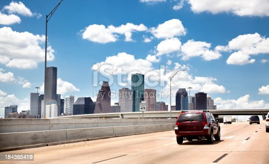 Skyline of downtown Houston, Texas in mid-day.