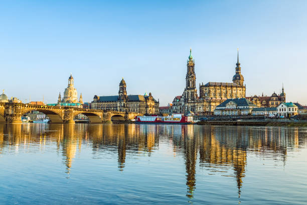 Skyline Dresden with River Elbe Skyline Dresden with River Elbe wasser photos stock pictures, royalty-free photos & images