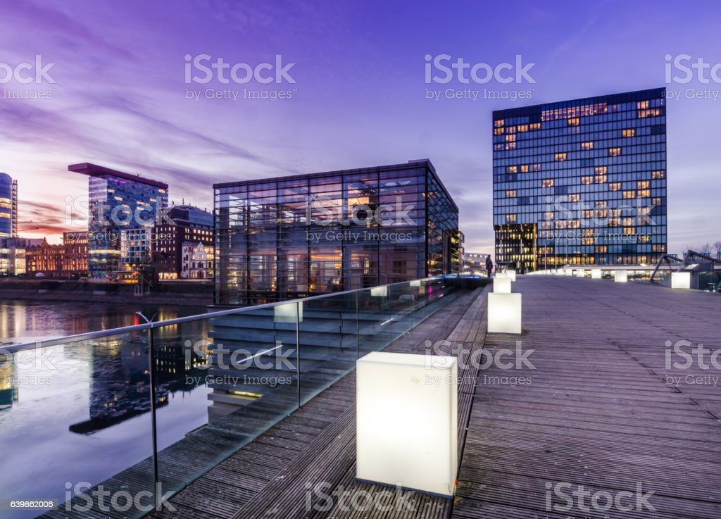 Skyline Dusseldorf during sunset - Media harbor stock photo