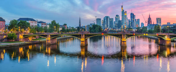 Skyline Frankfurt at sunset stock photo