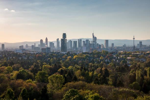 skyline frankfurt main, deutschland - stadt frankfurt stock-fotos und bilder