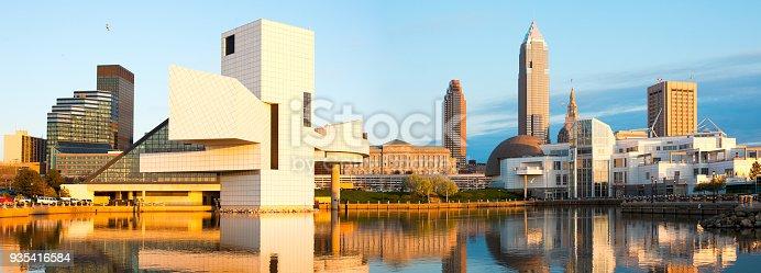 Skyline from the harbor at sunset, Cleveland, Ohio, USA