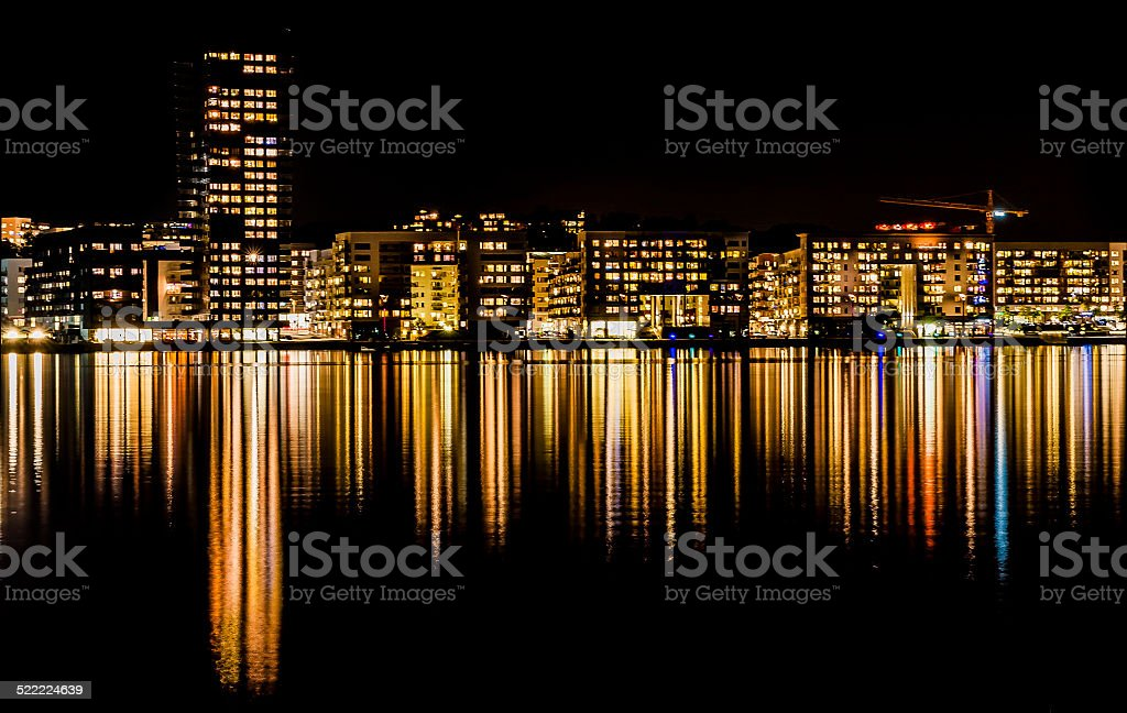 Skyline in night stock photo