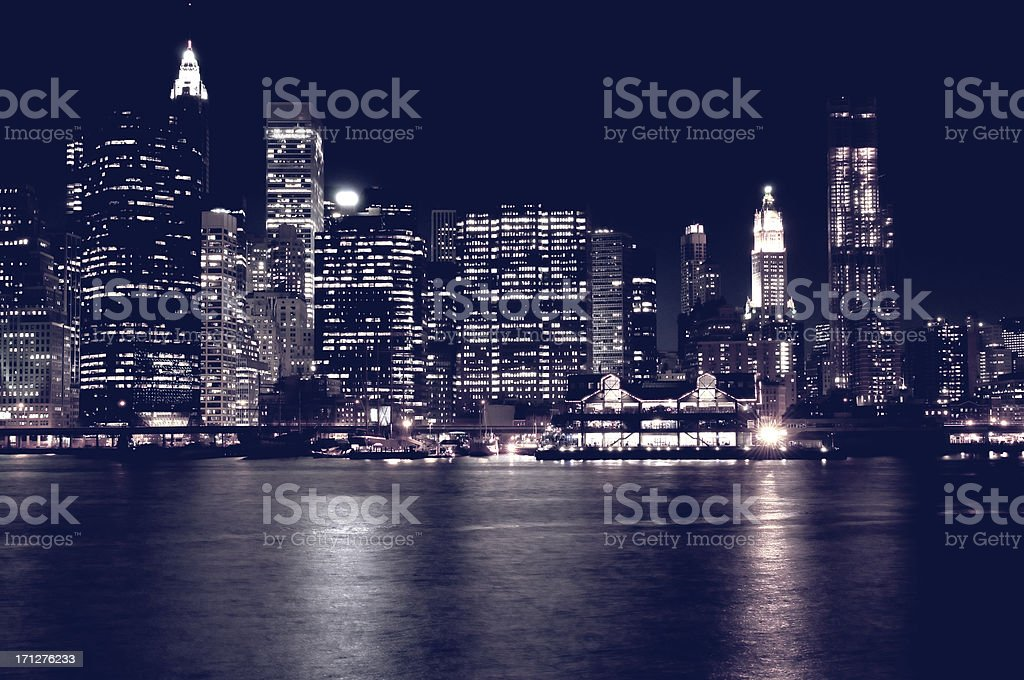 NYC Skyline in the Night royalty-free stock photo