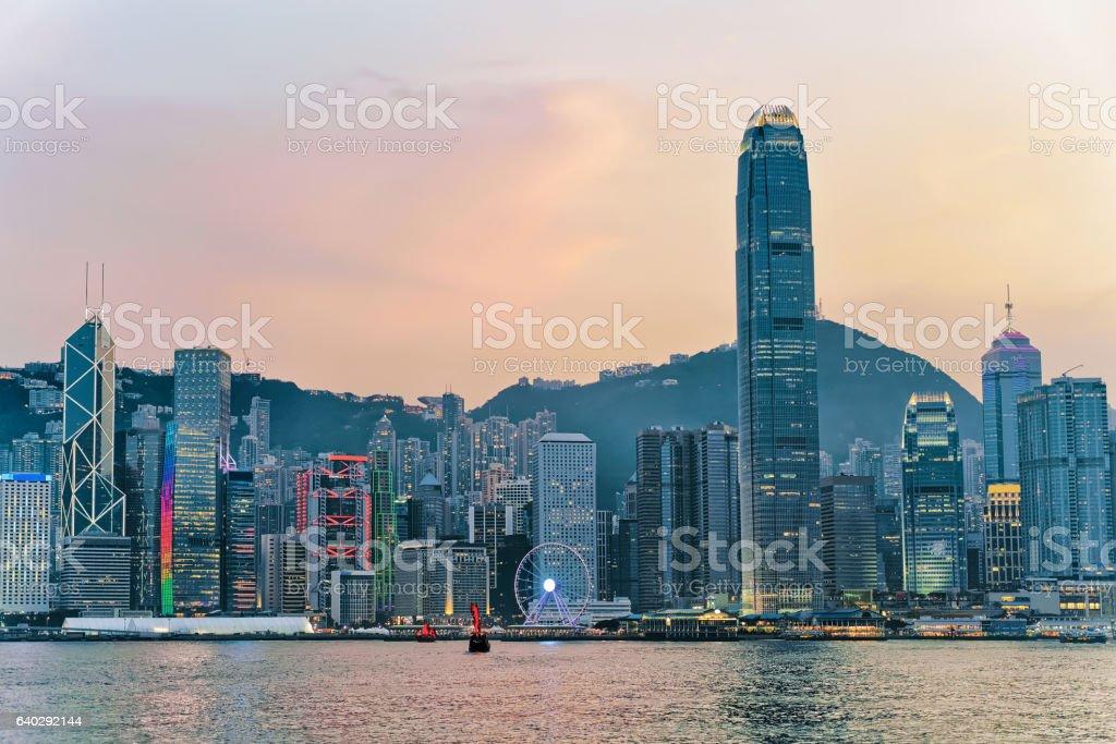 Skyline in the Victoria Harbor of HK stock photo