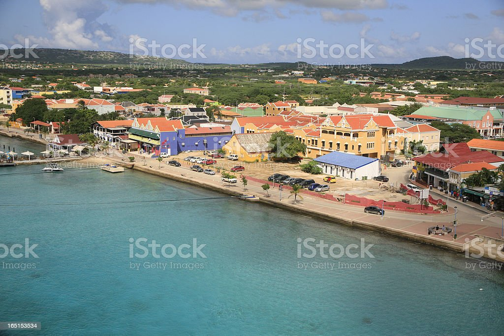 Skyline Kralendijk, Bonaire stock photo