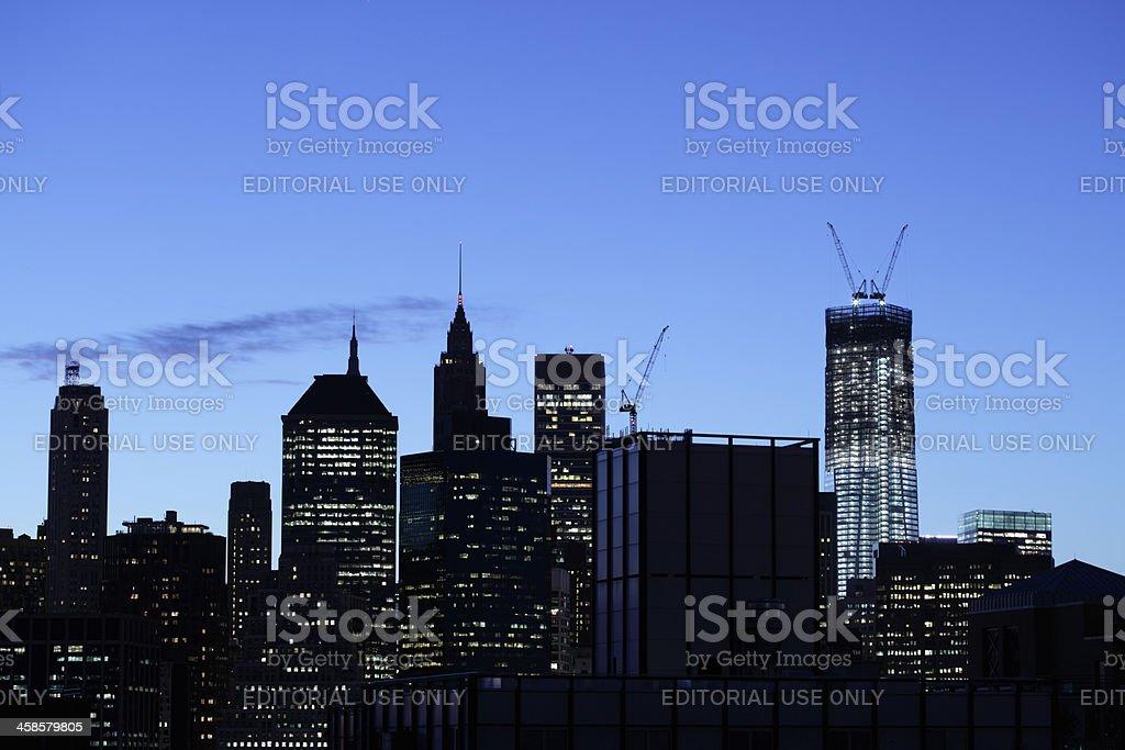 Skyline Manhattan NYC One World Trade Center night royalty-free stock photo