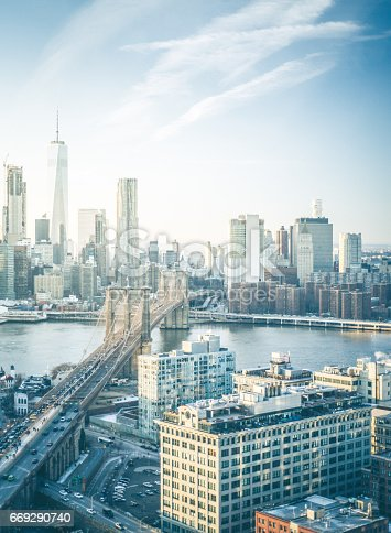 An aerial photograph of the New York City Skyline along with the Brooklyn Bridge and DUMBO district in the foreground.