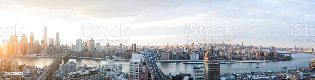 Skyline New York City Sunset Panoramic stock photo
