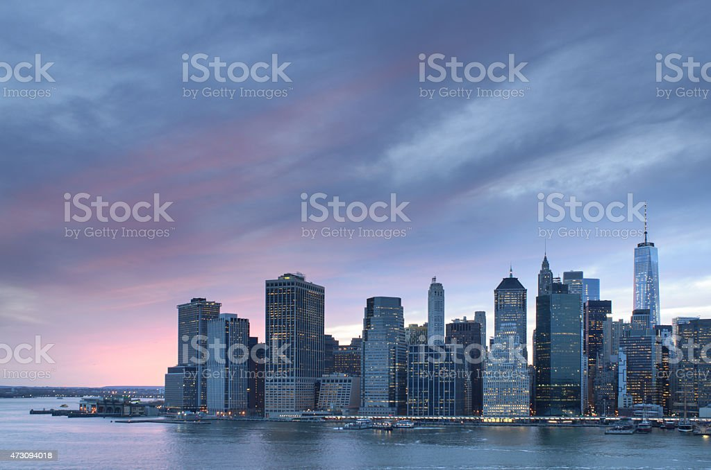 Skyline New York City The World Trade Center at Sunset stock photo