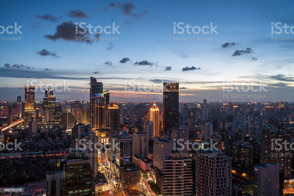 Skyline night view on Pu dong New Area, Shanghai stock photo