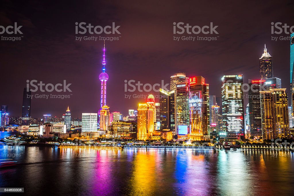 Skyline night view on Pudong New Area stock photo