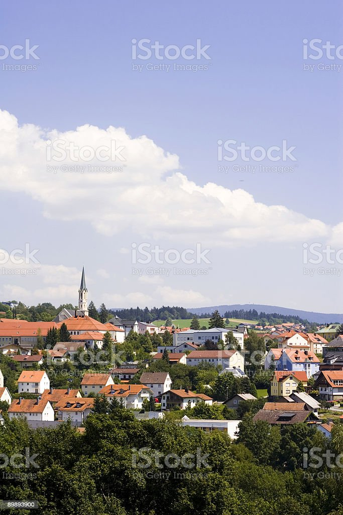 Skyline of a bavarian town (Freyung) royalty-free stock photo