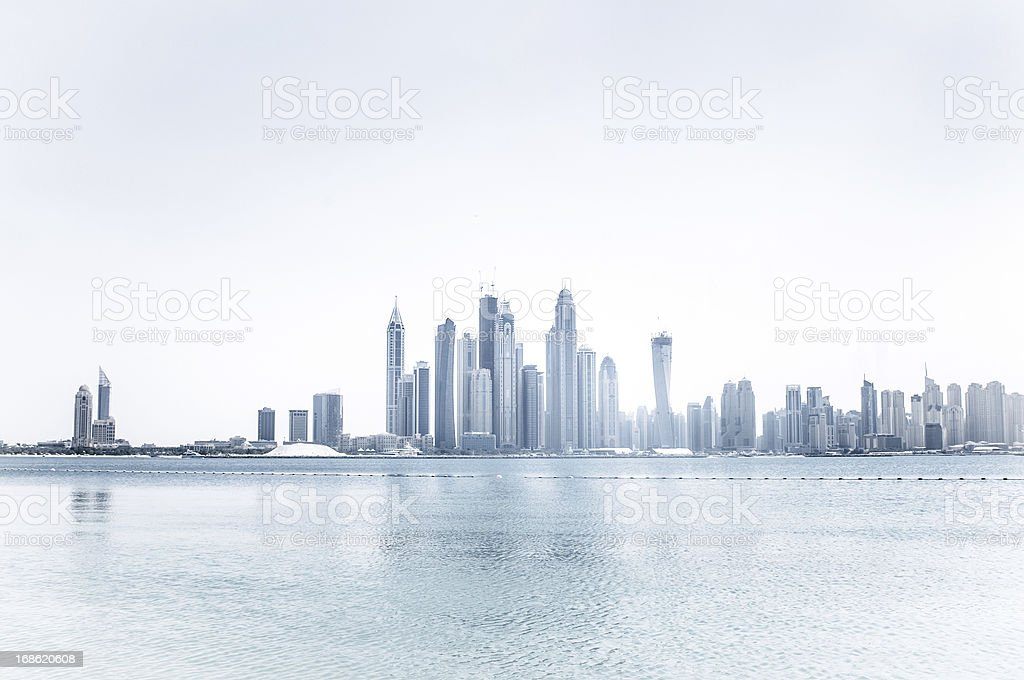 Skyline of a city of skyscrapers